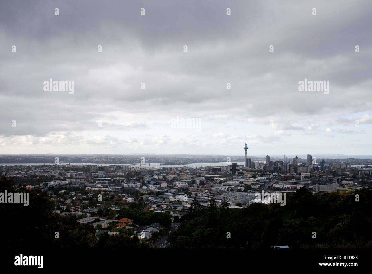 Auckland, New Zealand from Mt.Eden. - Stock Image