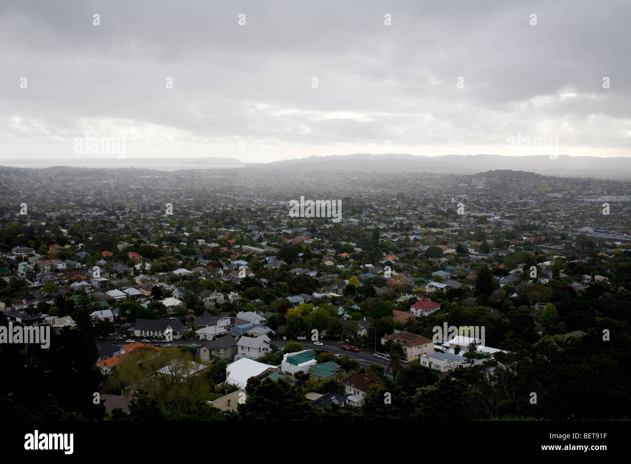 Southern Auckland from Mt. Eden. - Stock Image