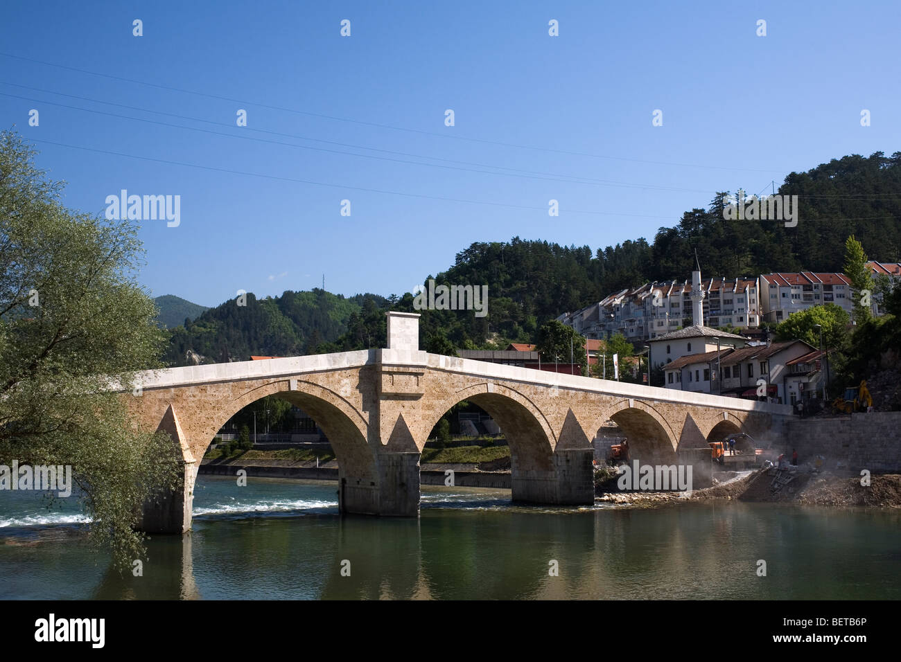 The reconstructed Old Bridge in Konjic, Bosnia. - Stock Image