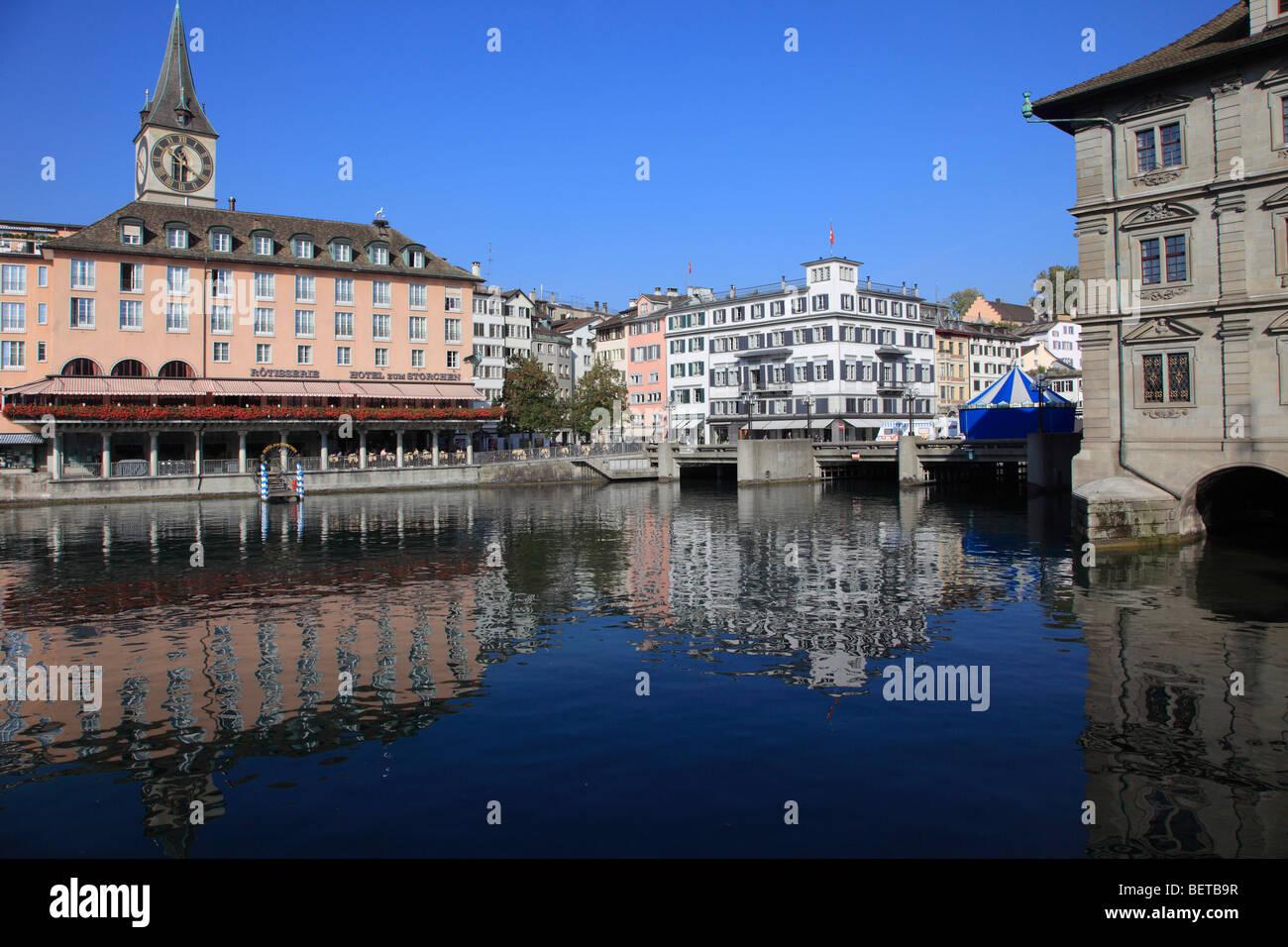 Switzerland, Zurich, skyline, general view, Limmat river - Stock Image