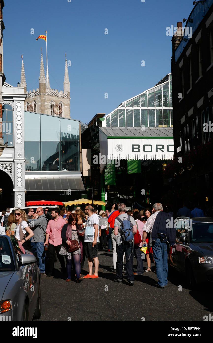 Looking up Park Street to Borough Market and Southwark Cathedral, Borough, London, UK - Stock Image