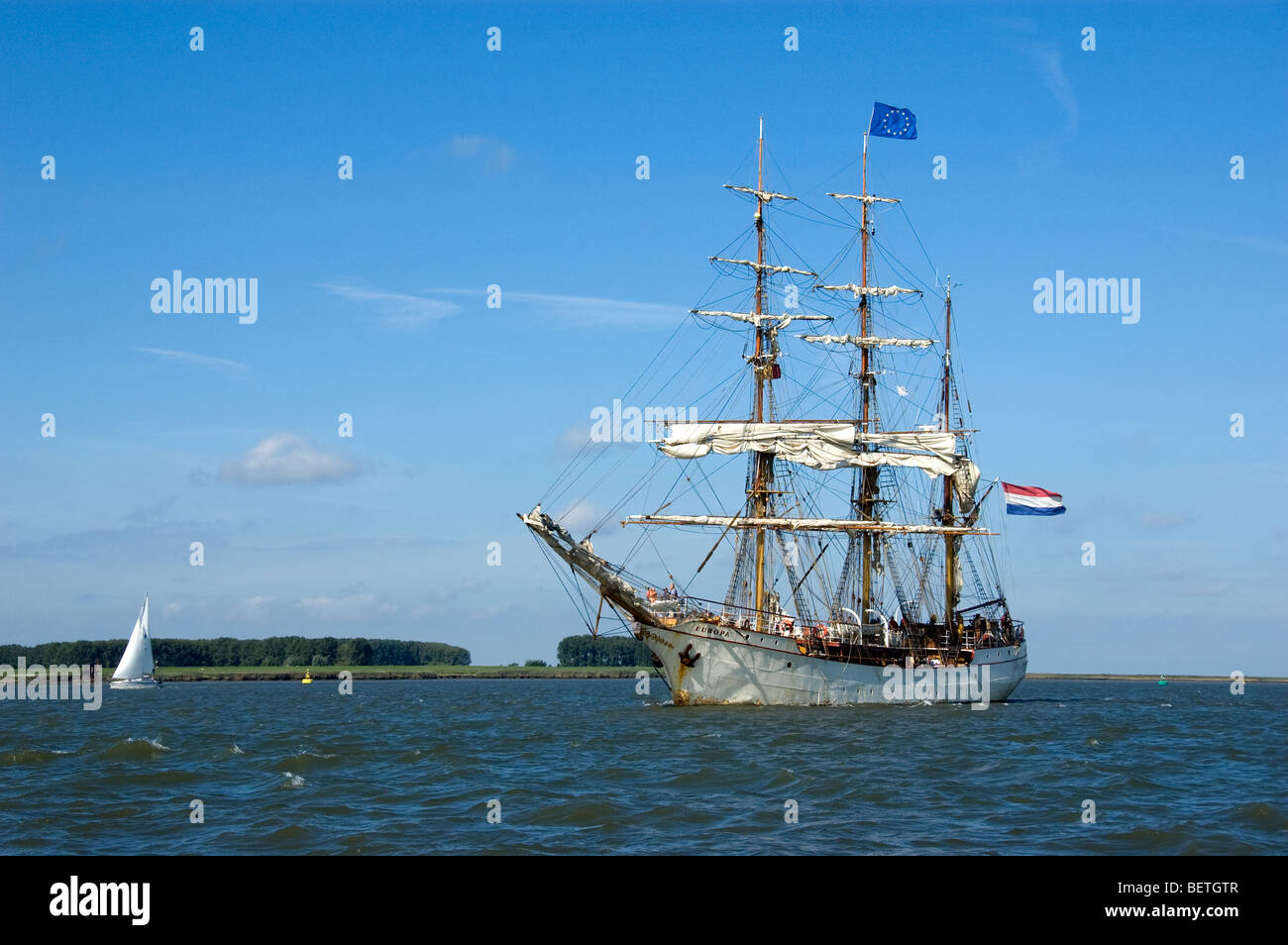 Sailing ship on the river Scheldt during the Tall Ship's Race 2006, Antwerp, Belgium - Stock Image