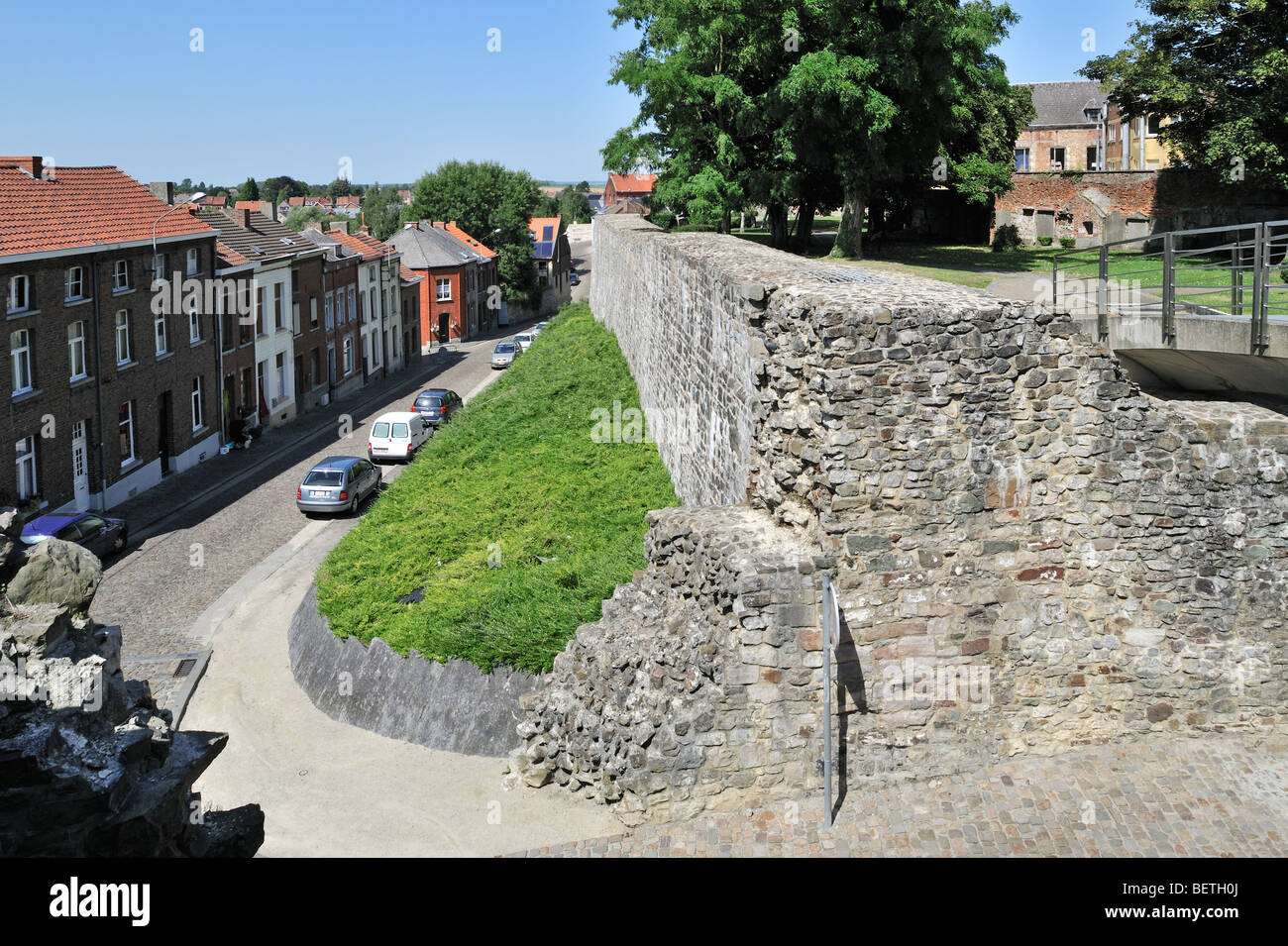 View over street and old medieval town rampart at Binche, Hainaut, Wallonia, Belgium - Stock Image