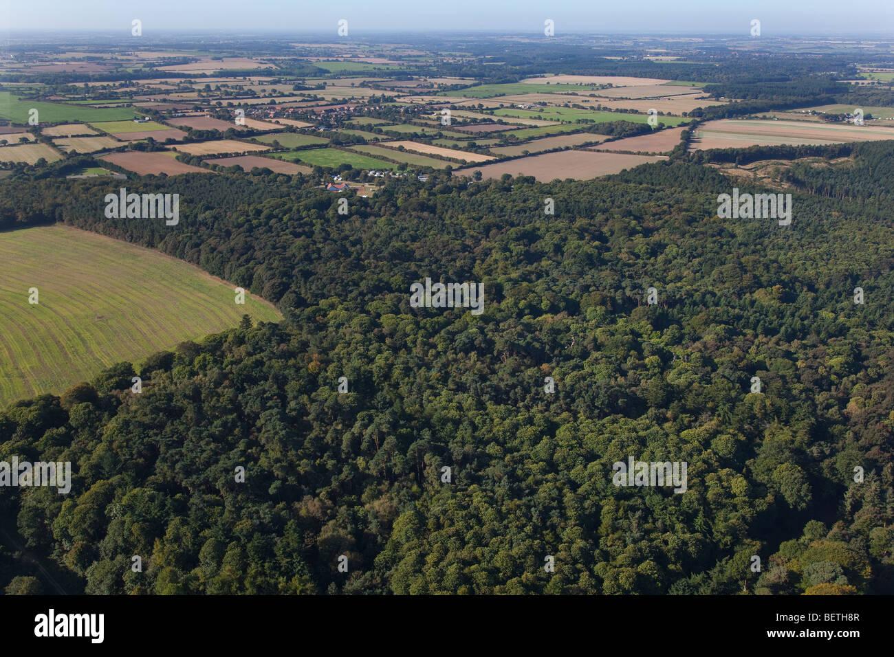 Sherringham Park towards Bodham Norfolk Aerial - Stock Image