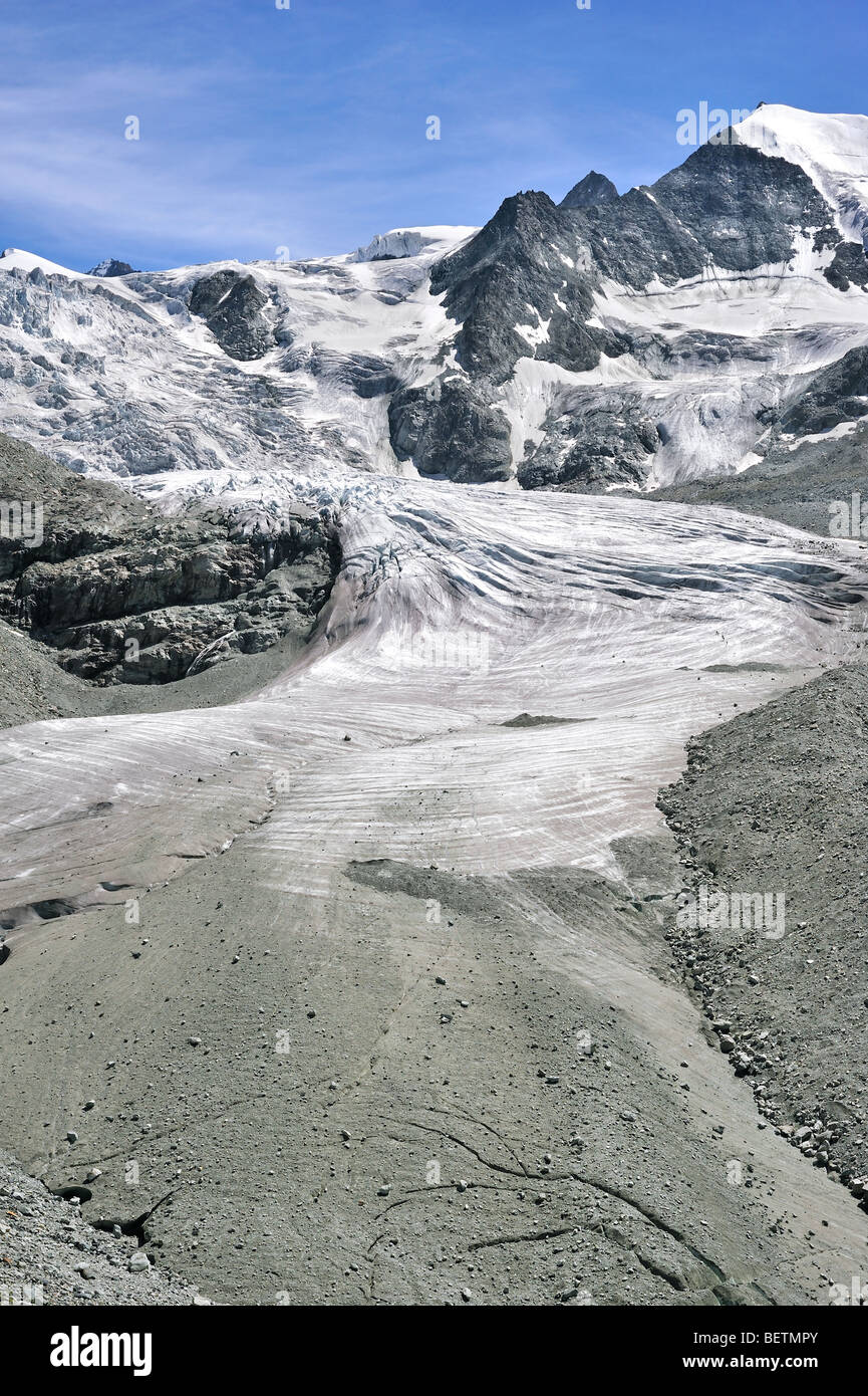 The Moiry Glacier showing moraine and retreating ice and snow in the Pennine Alps / Walliser Alpen, Valais / Wallis, - Stock Image