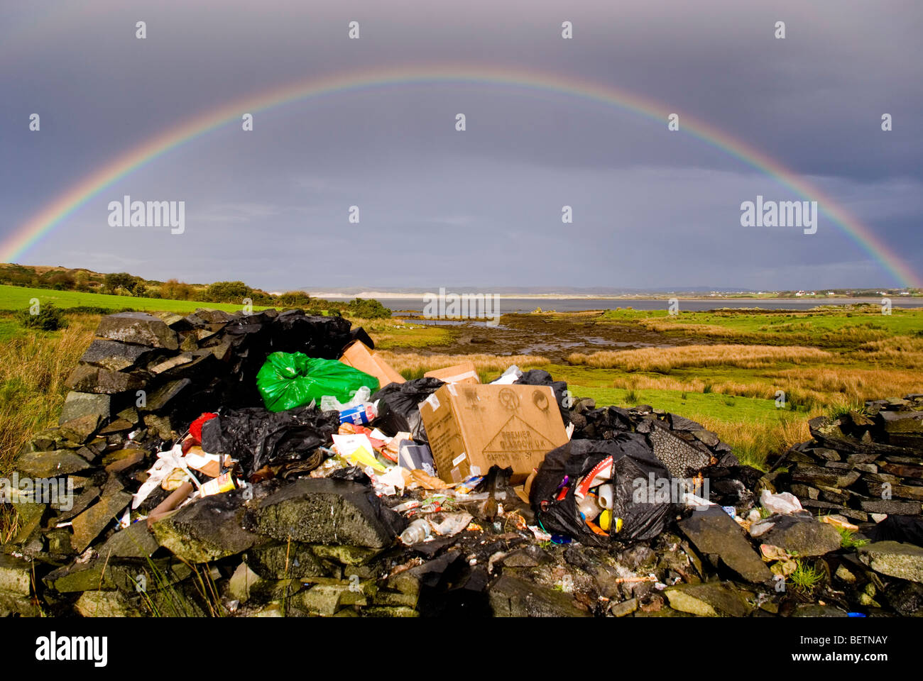 Donegal Ireland Dumped domestic refuse amid the natural beauty of the west coast of Irish Republic - Stock Image