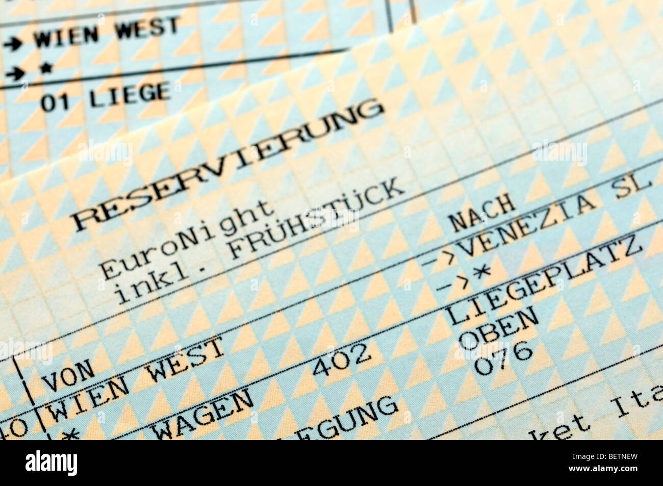 Reservation for a Train Couchette from Vienna to Venice ('incl breakfast') - Stock Image