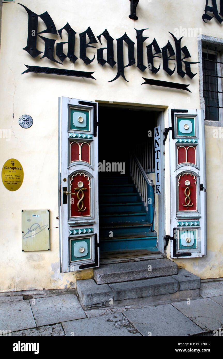 Entrance of the Raeapteek (town council chemist's) in Tallinn, Estonia - Stock Image