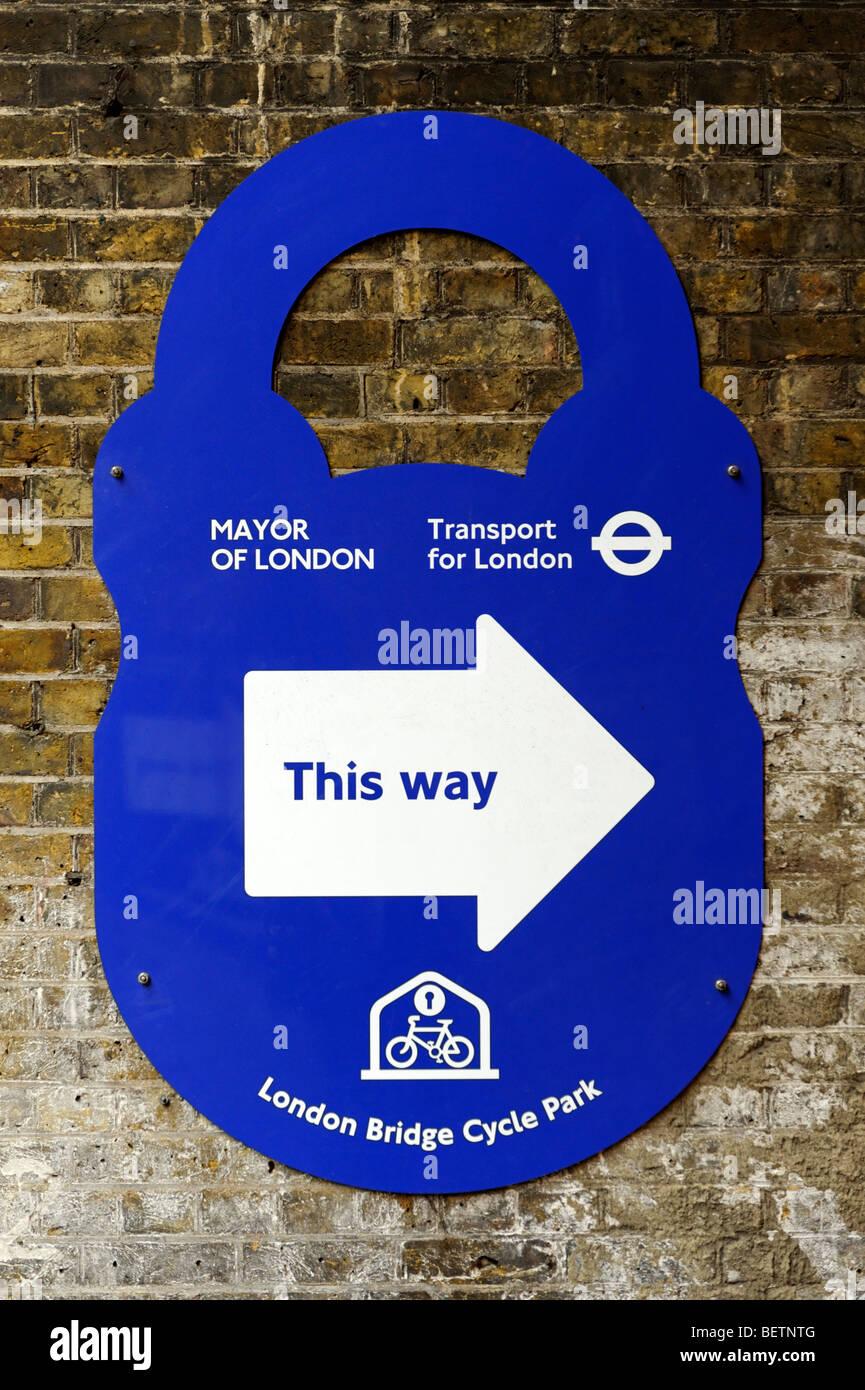 London Bridge Cycle Park sign. London. Britain. UK - Stock Image