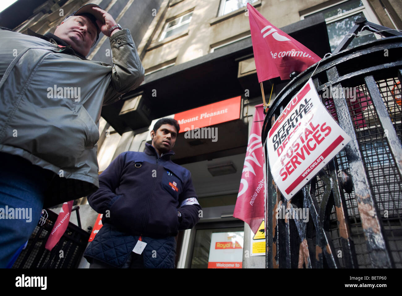 Official Royal Mail Communication Workers Union (CWU) picket outside their Mount Pleasant sorting office in central - Stock Image