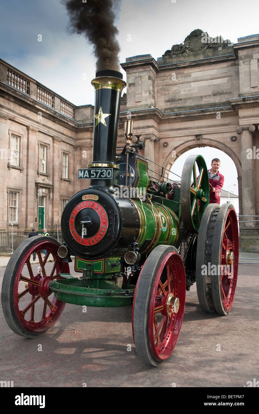 Traction engine steam power Birkenhead Park festival of Transport. William Foster traction engine. - Stock Image