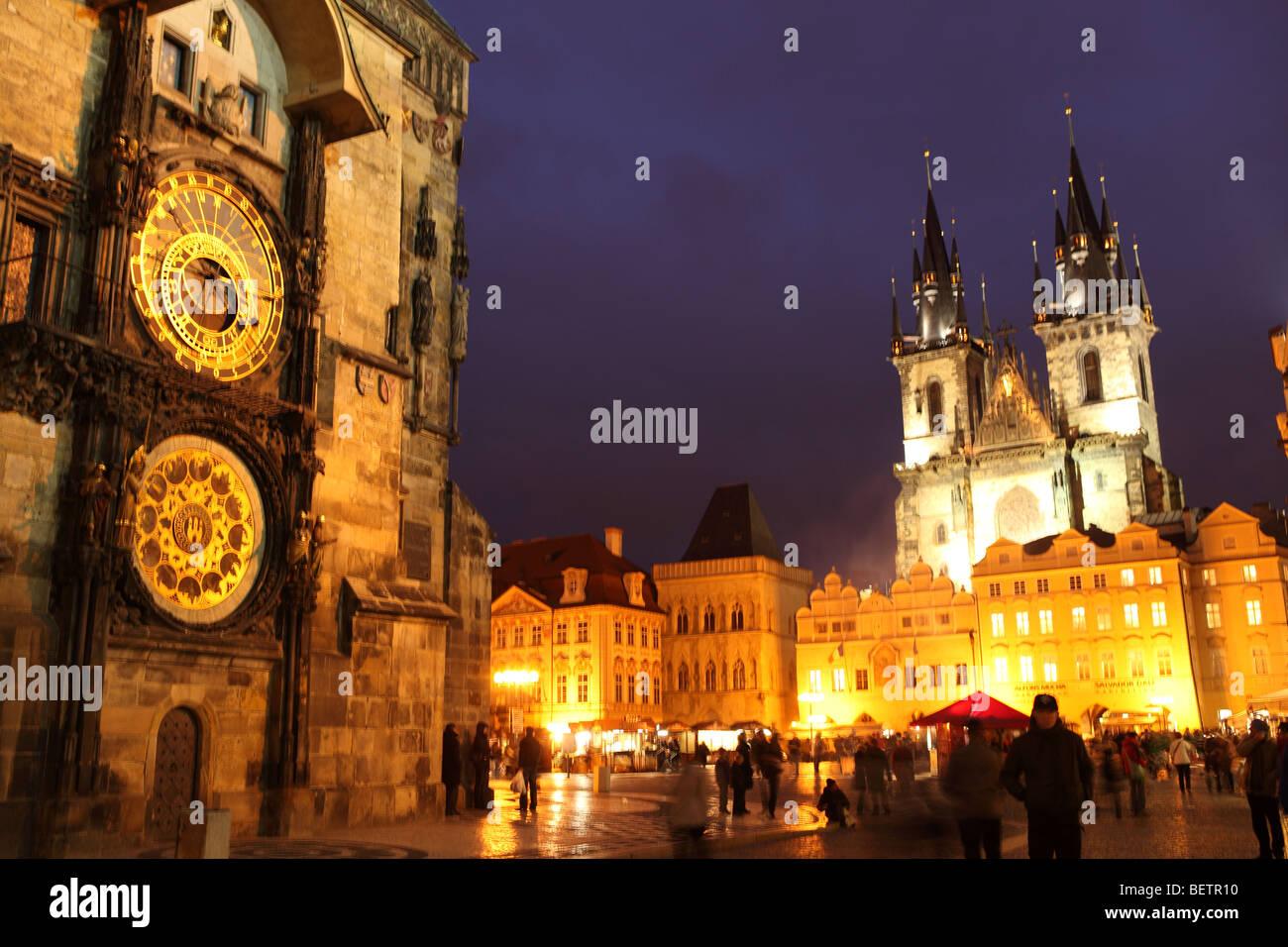Old Town Square Prague at dusk - Stock Image