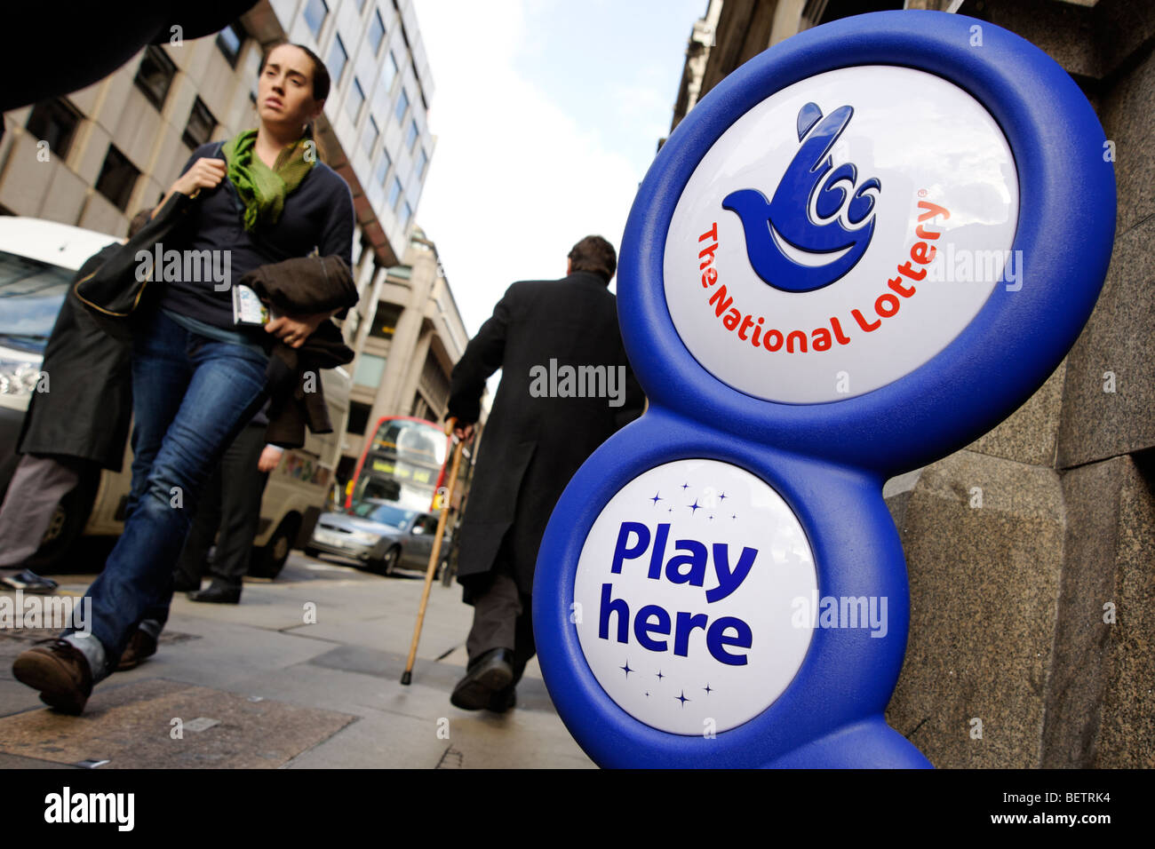 The National Lottery sign outside a newsagents shop. London. Britain. UK Stock Photo