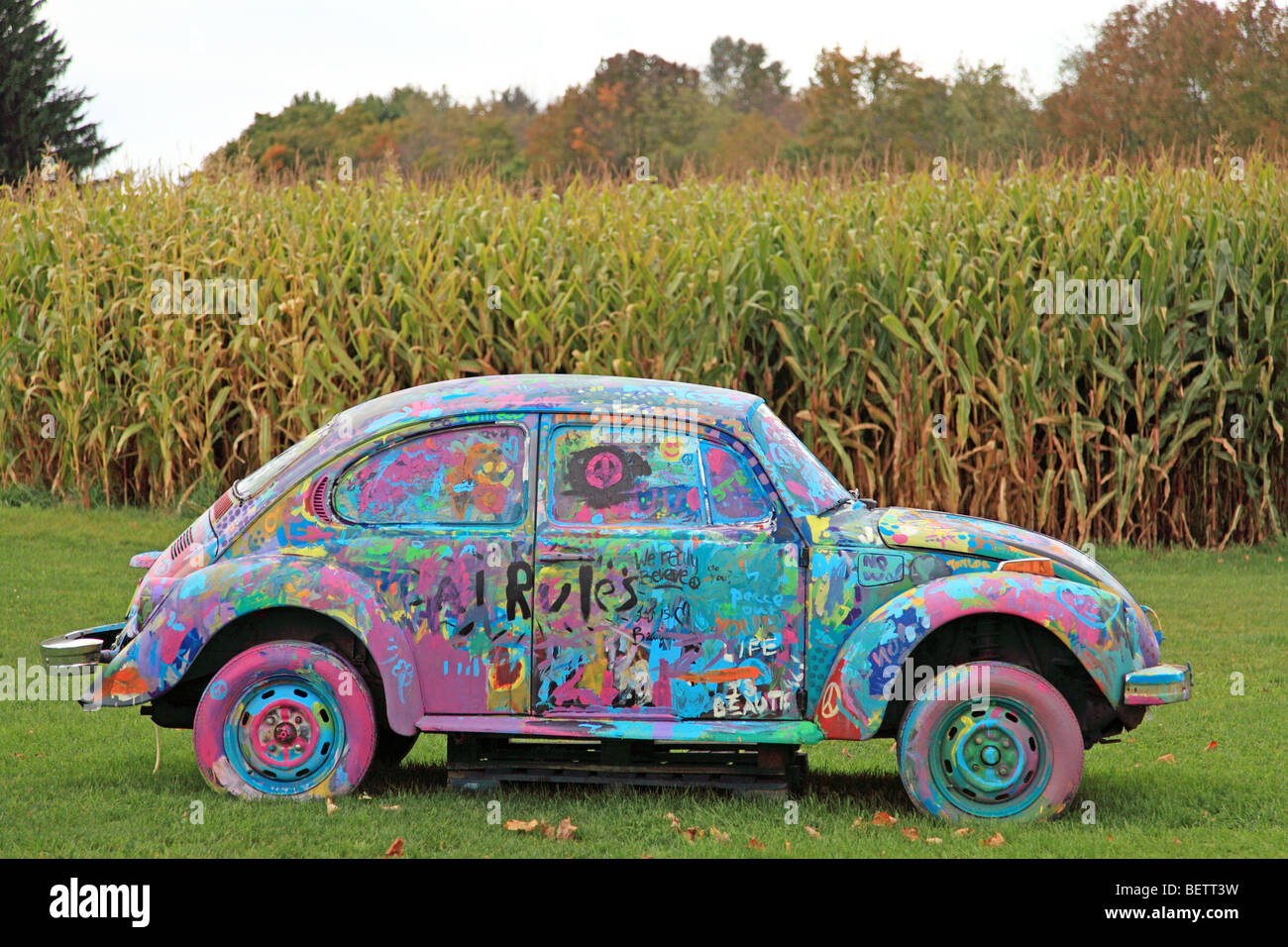 A highly painted VW parked in a maize field at the site of the Woodstock Music Festival,Max Yasgur's farm in - Stock Image