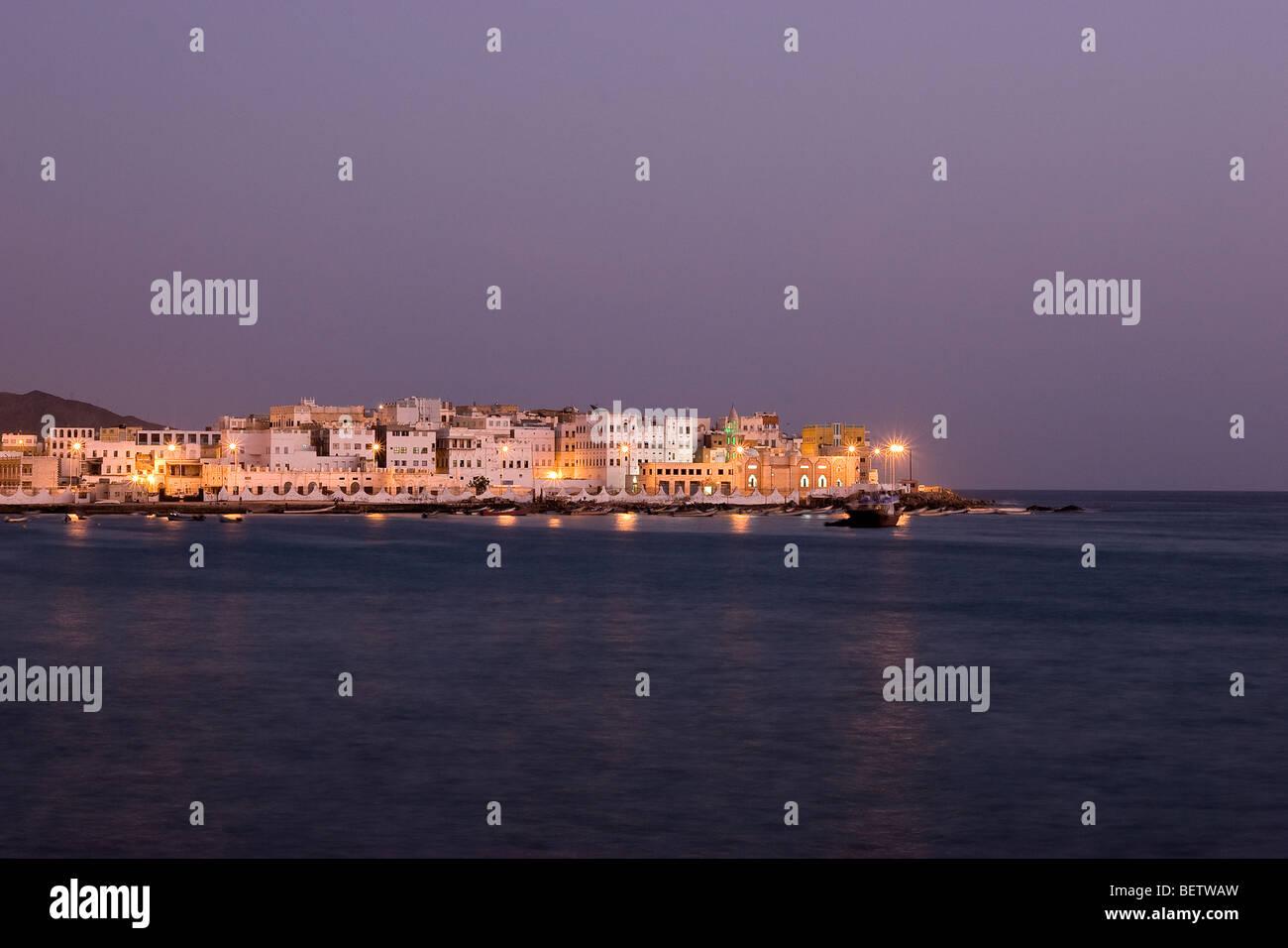 Panoramic view at dusk, Al-Mukalla, Yemen - Stock Image