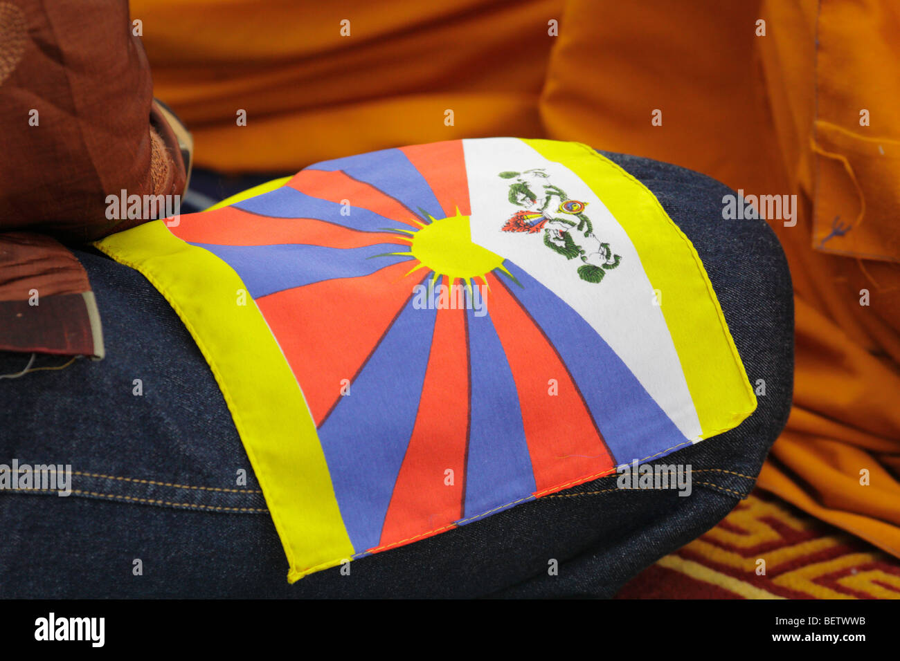 Details from Tibetan Monk purification ceremony-Victoria, British Columbia, Canada. - Stock Image