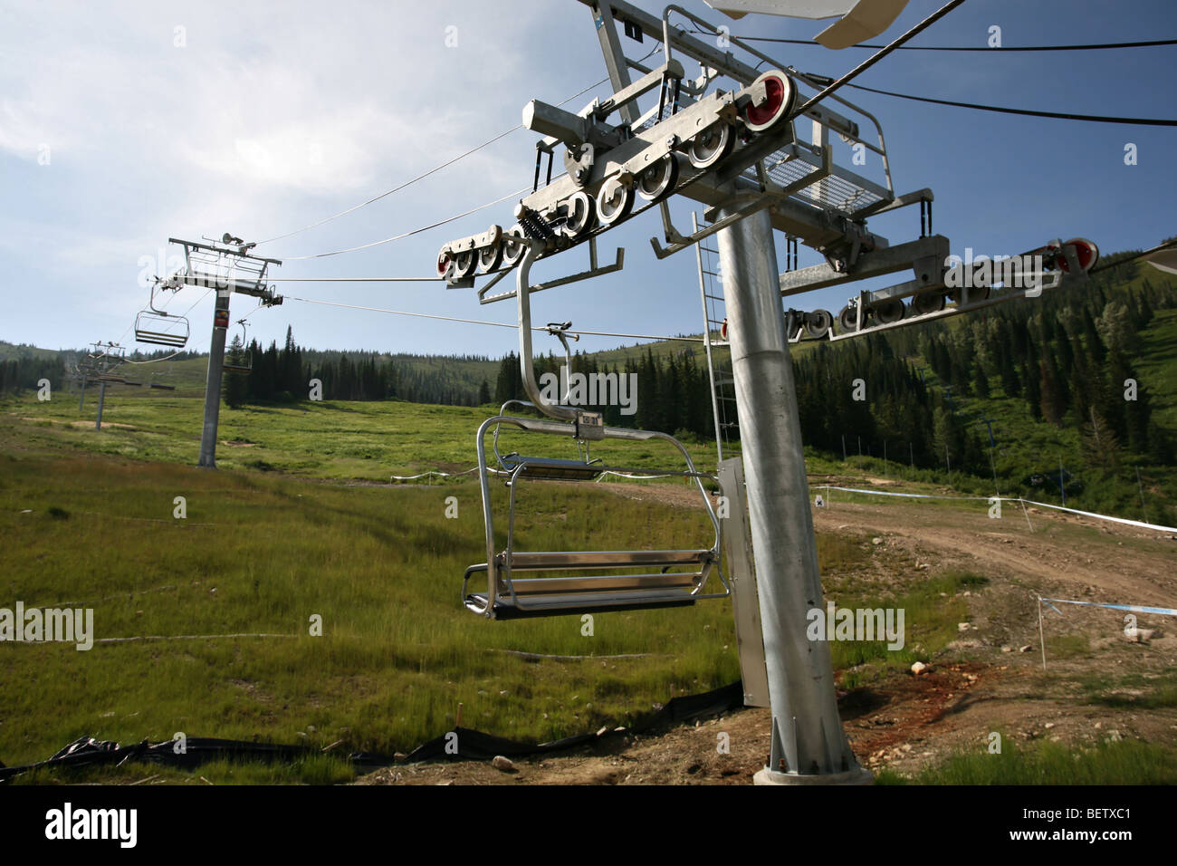 Chair lifts during the summer at Schweitzer Mountain Resort, Sandpoint, Idaho. - Stock Image