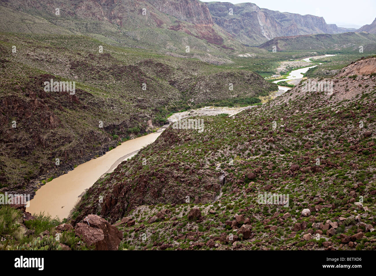 Rio Grande river on border of Texas on right-hand bank and Mexico Big Bend Ranch State Park Texas USA - Stock Image