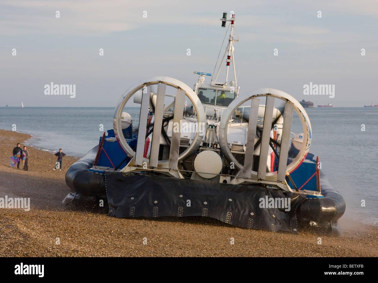 Hovercraft departs Southsea, England UK. - Stock Image