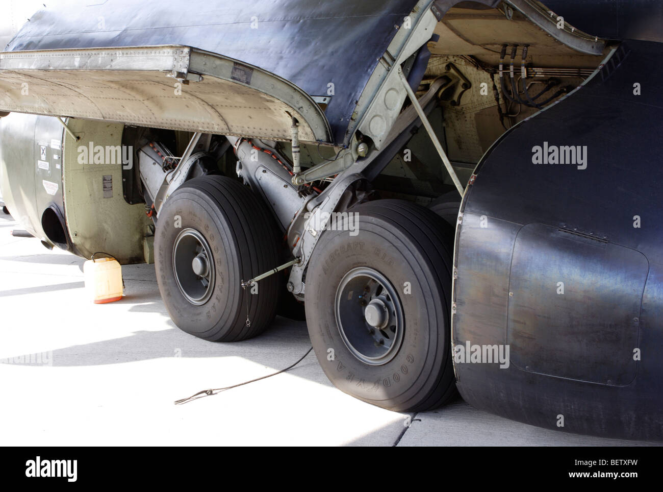 Undercarriage of a Transall C-160 - Stock Image