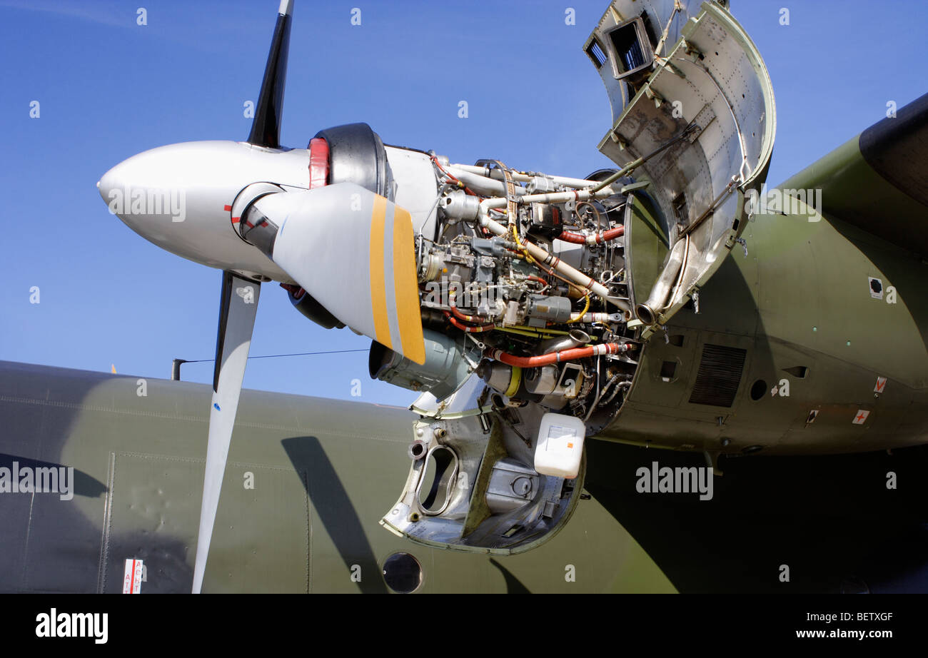Turboprop engine of a Transall C-160 - Stock Image