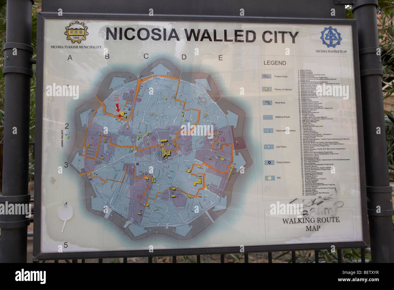 tourist information map of walking tours of the nicosia walled city ...
