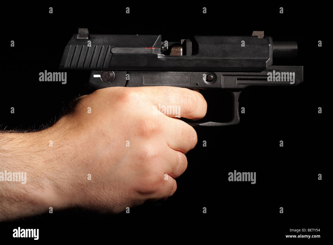 After last shoot. Handgun out of ammo. - Stock Image