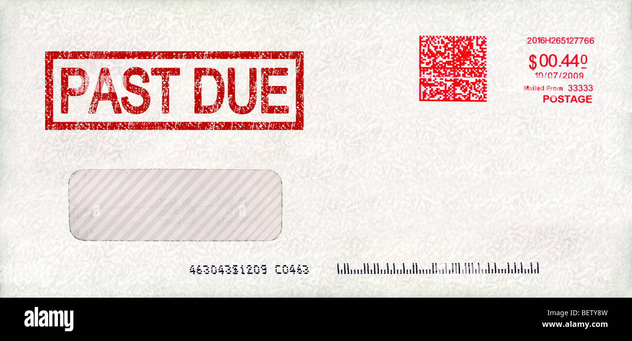 Past due envelope with postage - Stock Image