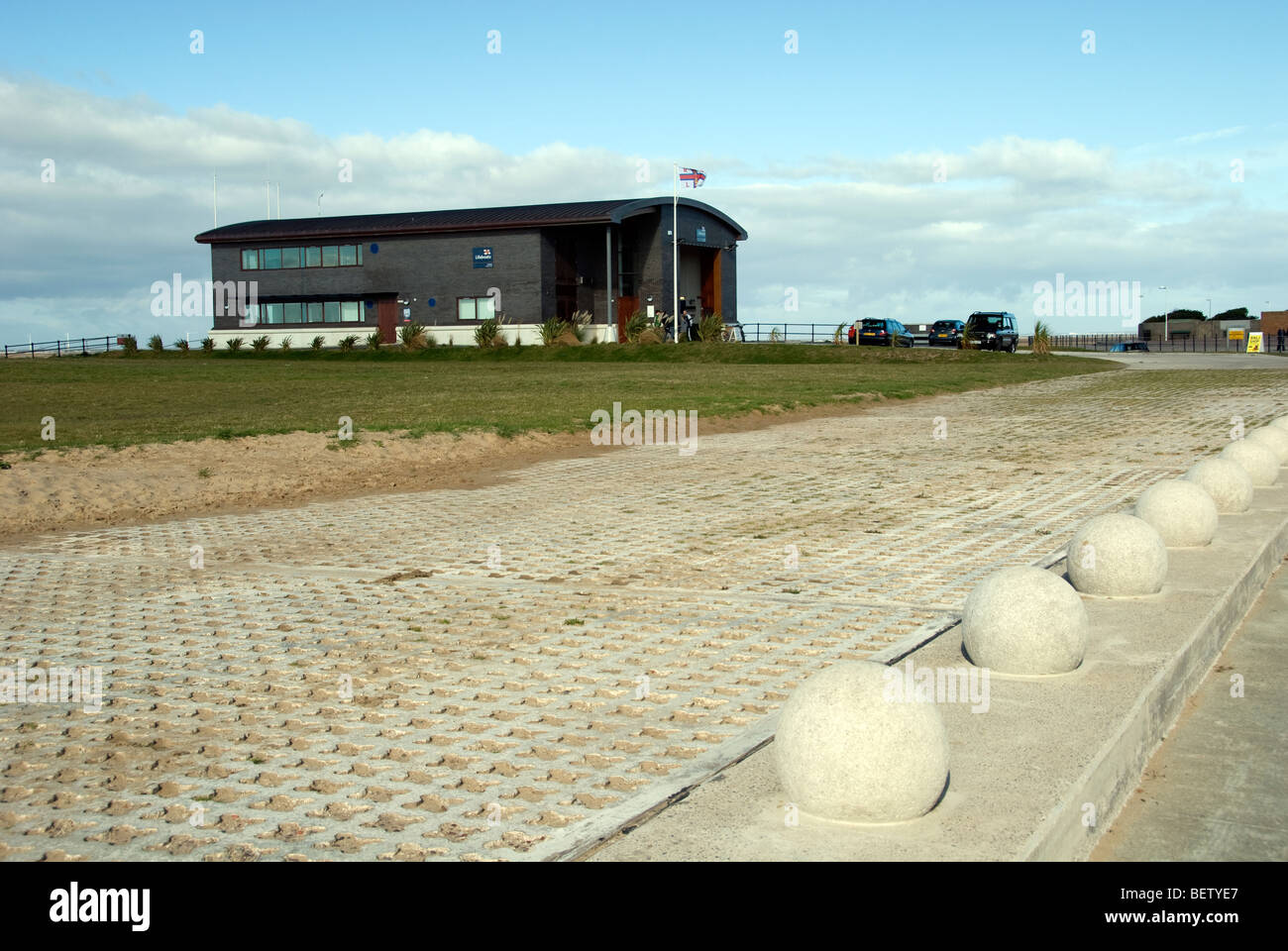 The new lifeboat station at Hoylake on the Wirral Peninsula. This station has state of the art facilities to aid - Stock Image