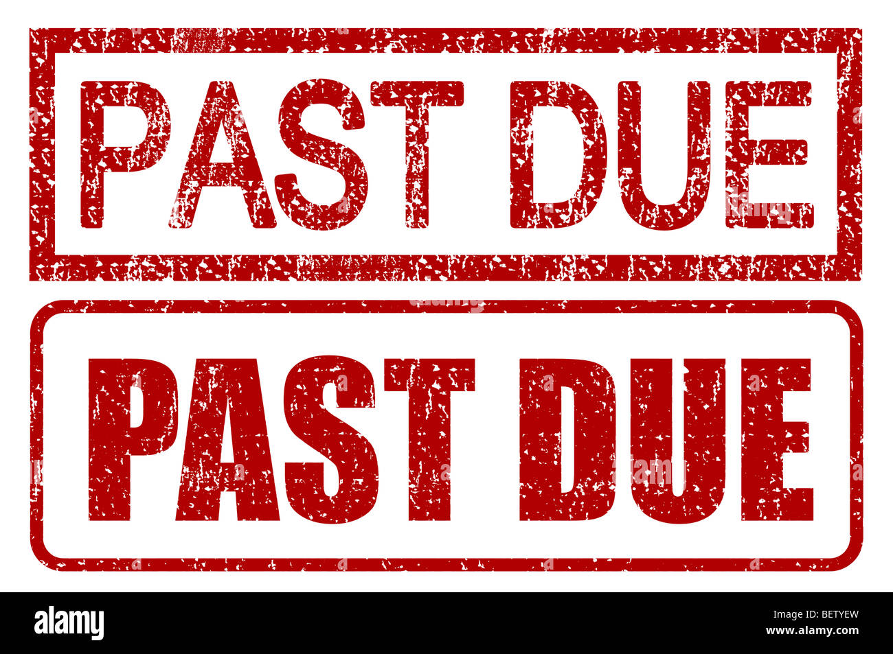 Past due stamps with grunge style isolated over white - Stock Image