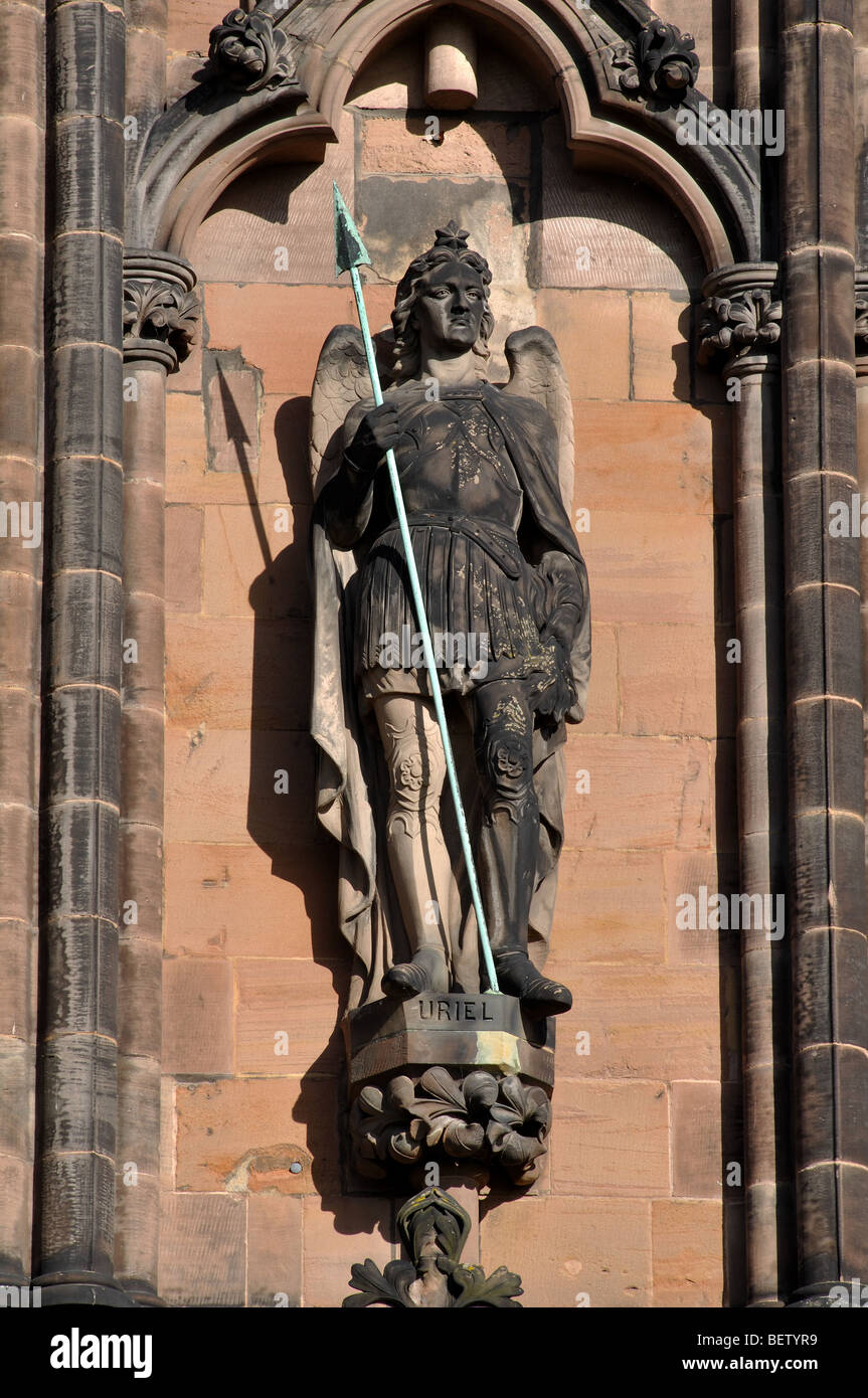 Uriel statue on West Front of Lichfield Cathedral, Staffordshire, England, UK Stock Photo