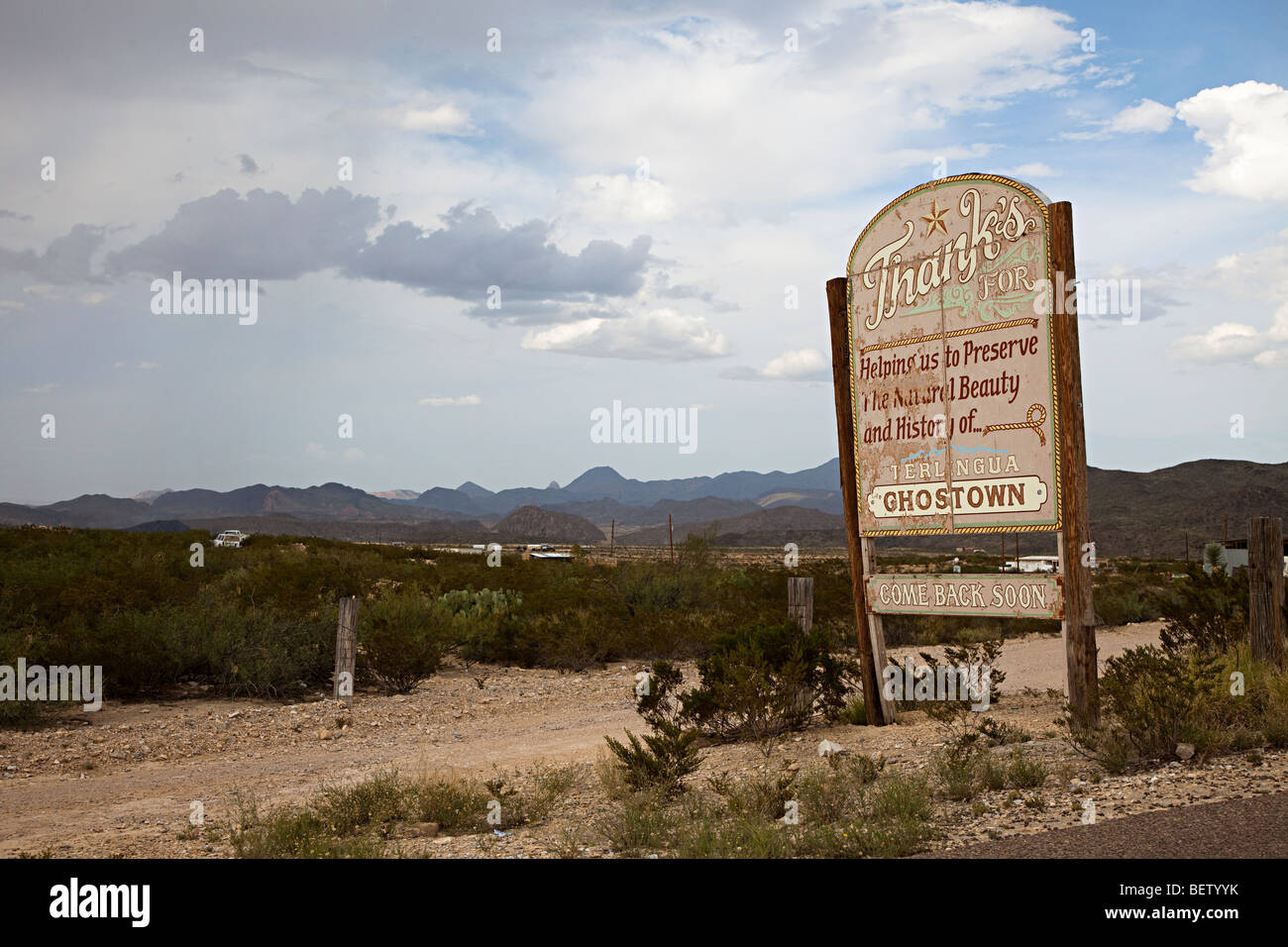 Faded welcome sign on outskirts of ghost town Terlingua Texas USA - Stock Image