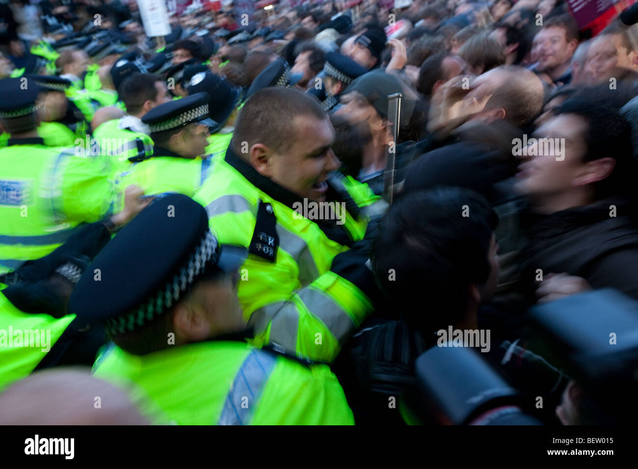Protest outside BBC Television House - Stock Image