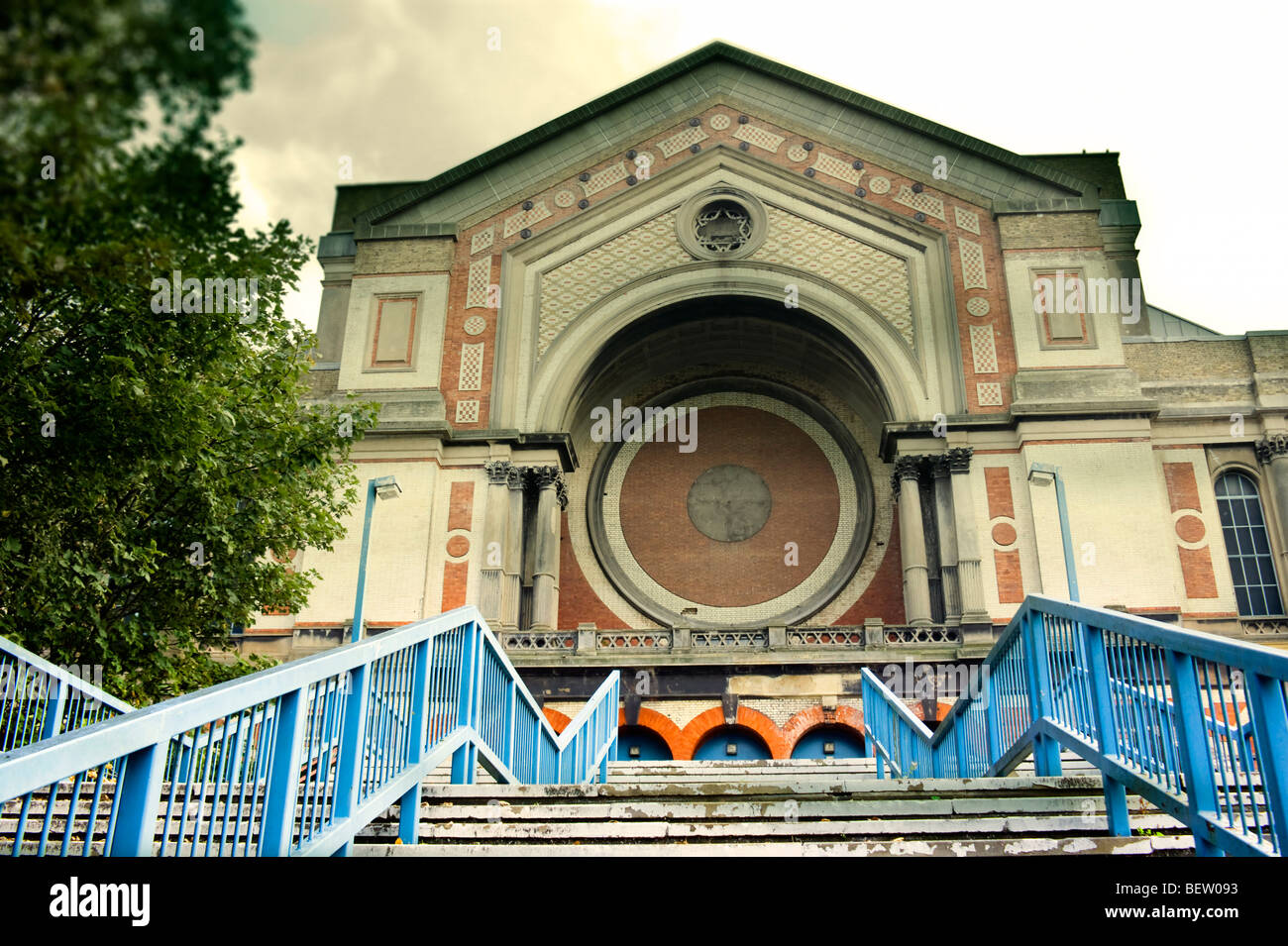 West stairs and entrance to Alexandra Palace, in Alexandra Park, Haringey North London England UK - Stock Image