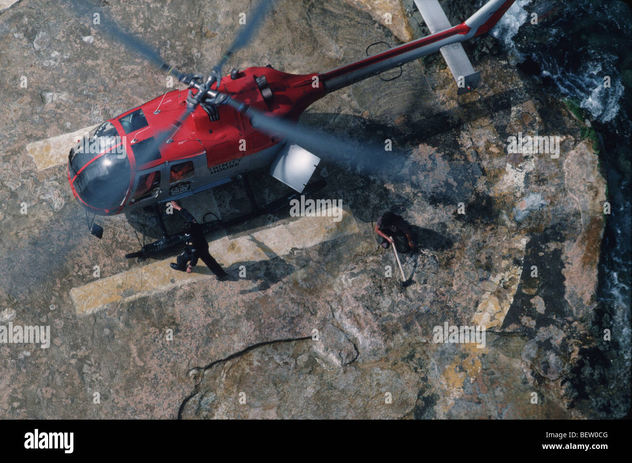 Bolkow 105 helicopter on landing site - Stock Image