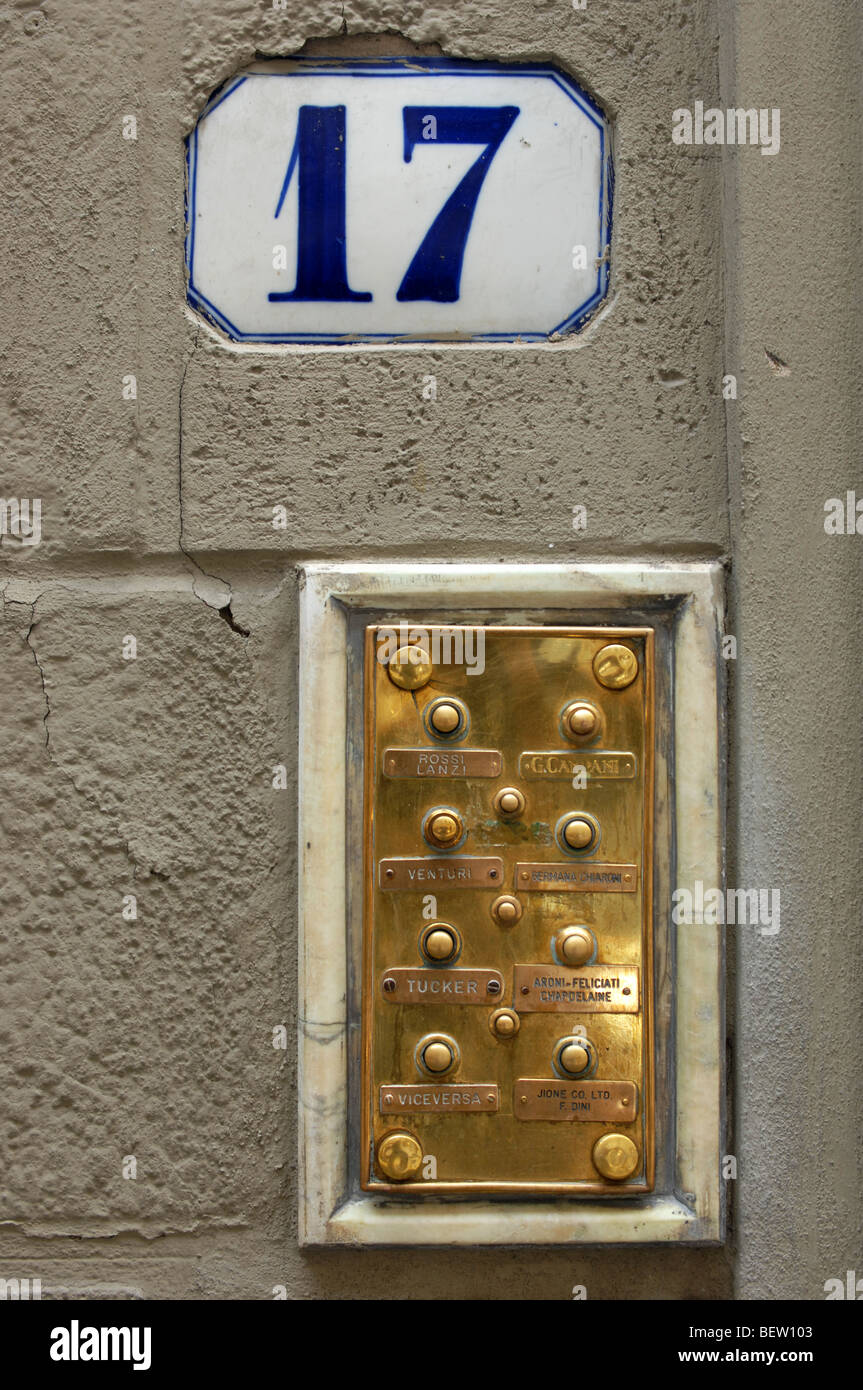 No 17 Door Number and Brass Bell Plaque Florence Italy. & No 17 Door Number and Brass Bell Plaque Florence Italy Stock Photo ...