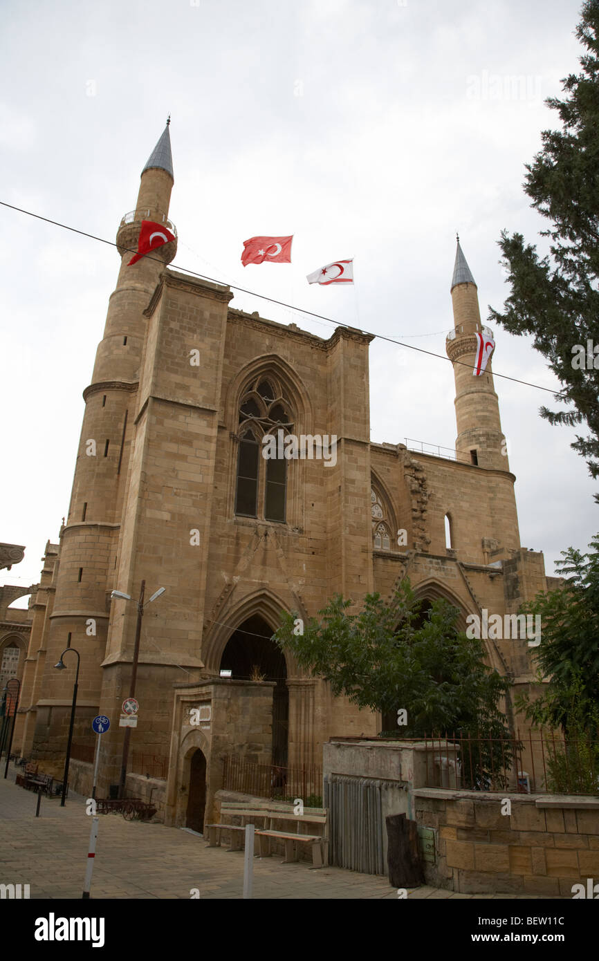 Selimiye mosque formerly saint sophia cathedral nicosia lefkosia TRNC turkish republic of northern cyprus - Stock Image