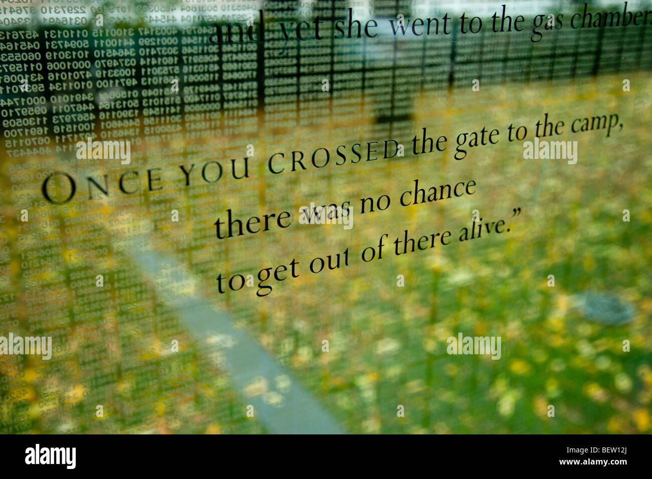 Poignant quotes on the glass walls of the Holocaust Memorial, Boston Massachusetts USA - Stock Image
