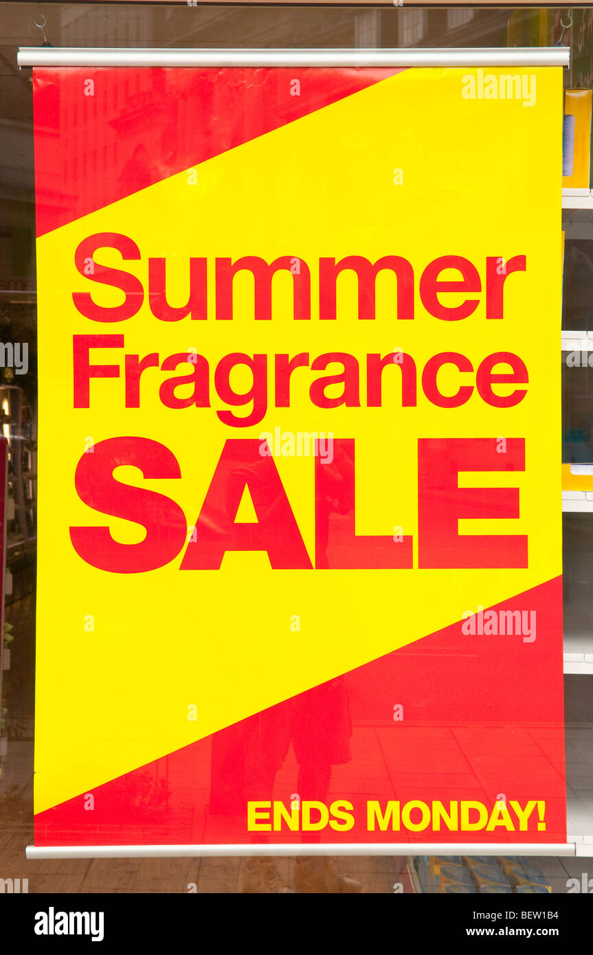 A Summer Fragrance Sale sign in Norwich,Norfolk,Uk - Stock Image