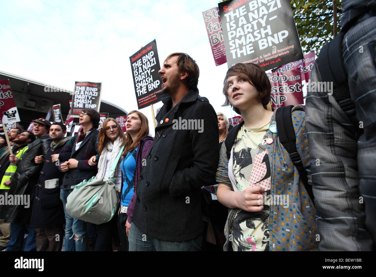 Protesters at the BBC against the BNP leader Nick Griffin's appearance on Question Time - Stock Image