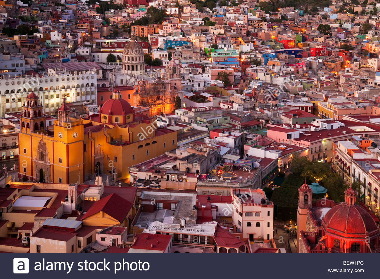 Downtown historic district or Zona Centro of Guanajuato, Mexico, as the sun sets. - Stock Image