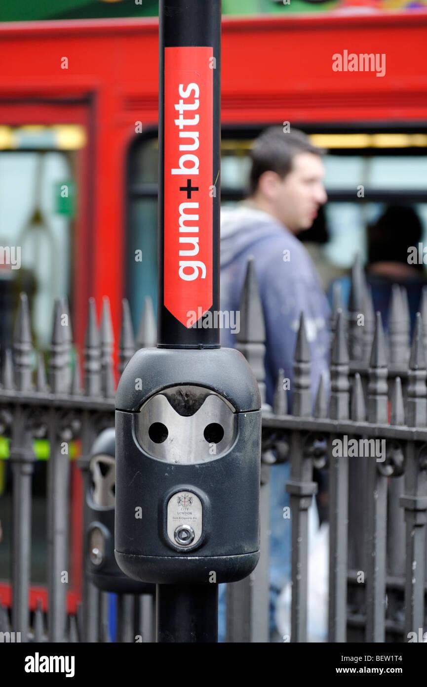 Gum + Butts bin. City of London. Britain. UK - Stock Image