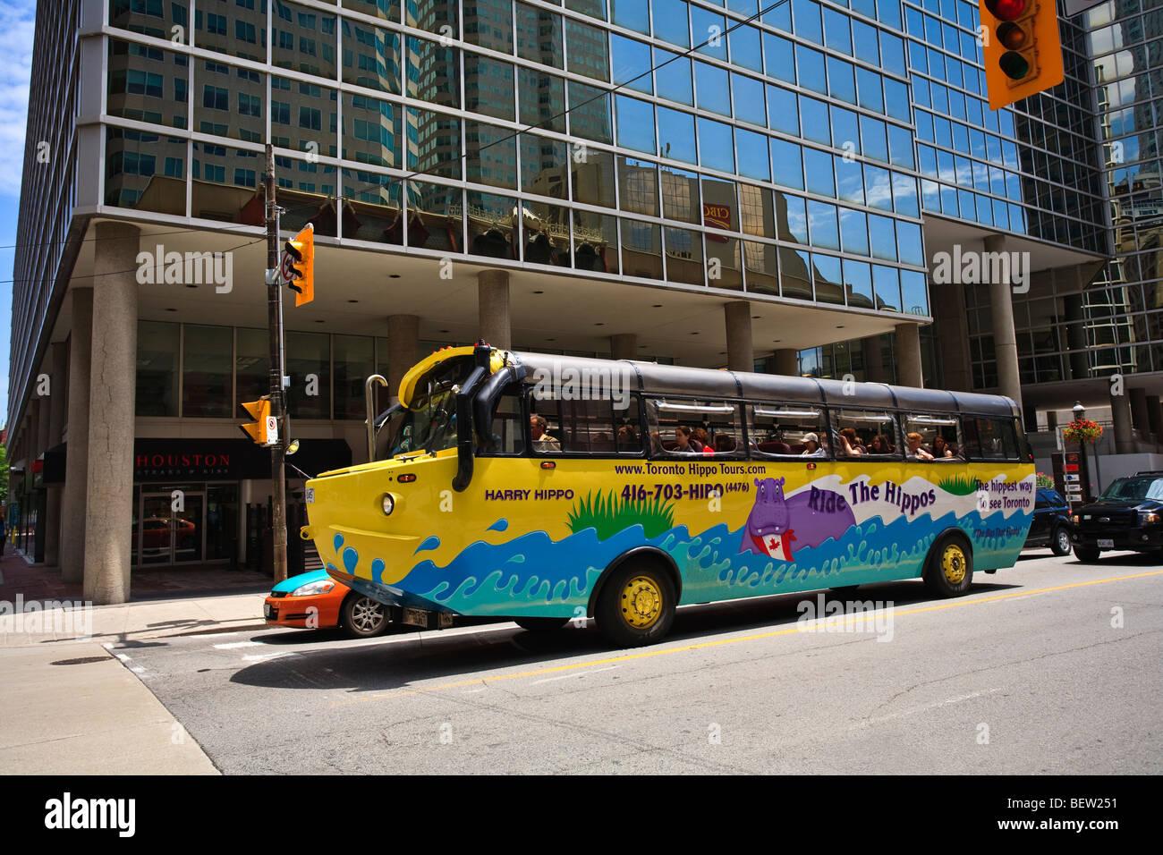 Toronto Hippo Tours bus - it's a bus, it's a boat! A Hippo is a unique 40 passenger vessel that offers land - Stock Image