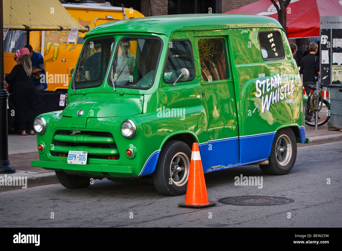 Dodge Ram vehicle promoting Steam Whistle Canadian beer - Stock Image