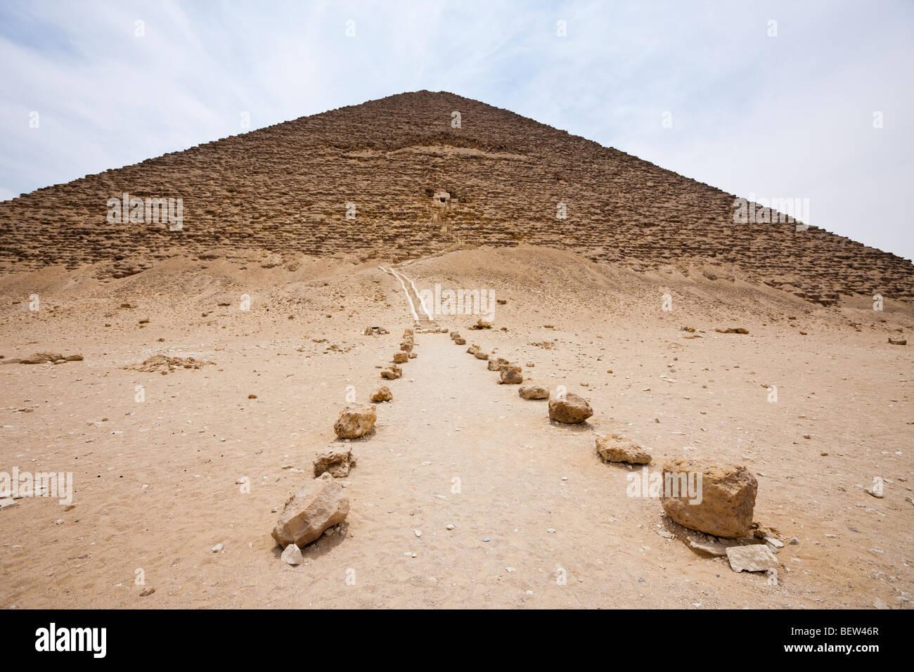 Entrance Red Pyramid of Pharaoh Snofru, Dahshur, Egypt - Stock Image