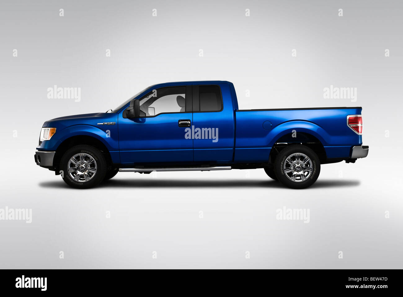 2010 Ford F-150 XLT in Blue - Drivers Side Profile - Stock Image