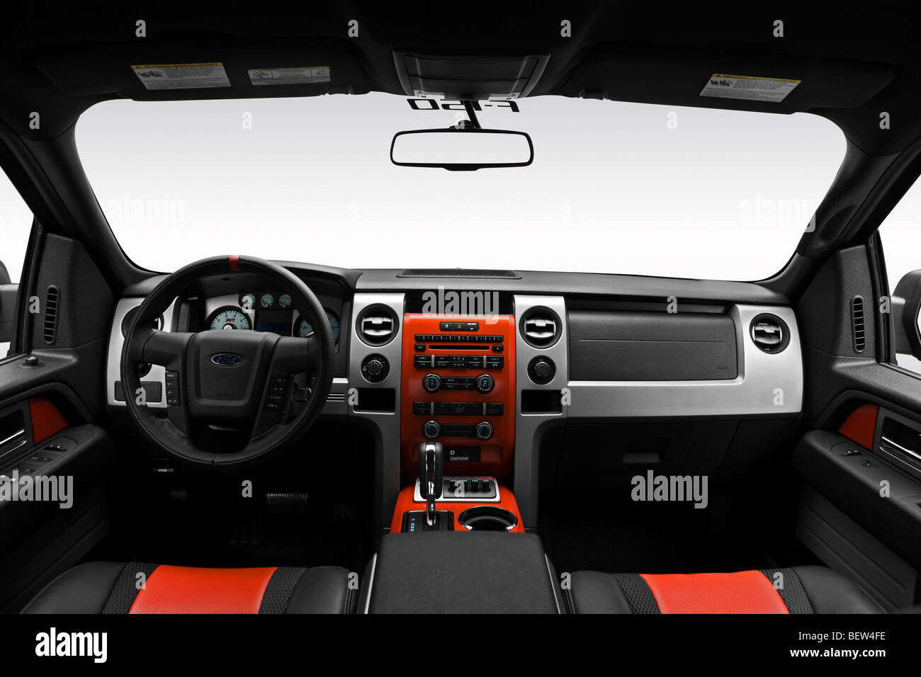 2010 Ford F-150 SVT Raptor in Black - Dashboard, center console, gear shifter view - Stock Image