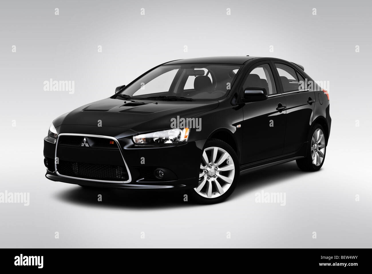 2010 mitsubishi lancer sportback ralliart in black front angle view stock photo 26368215 alamy. Black Bedroom Furniture Sets. Home Design Ideas