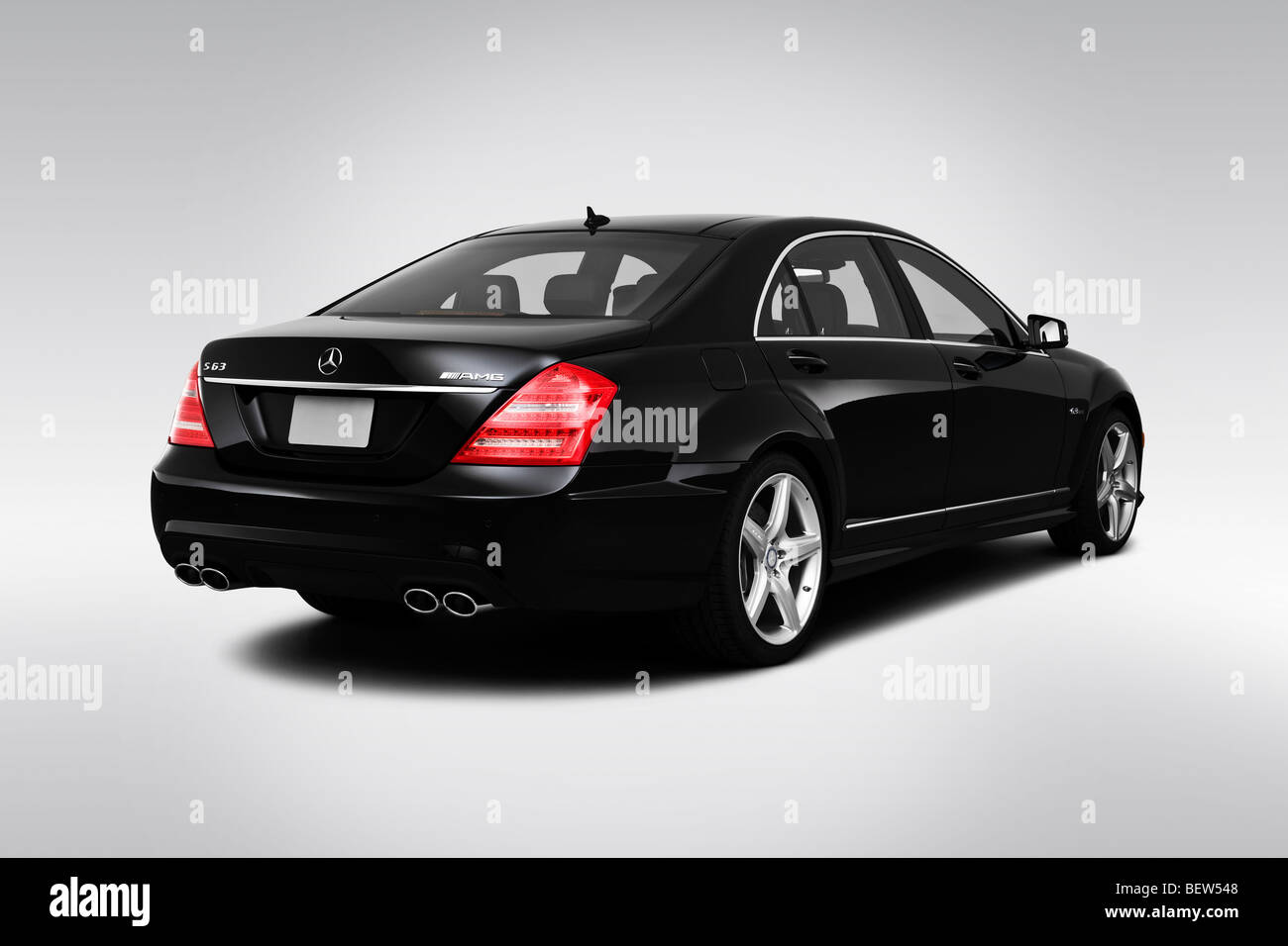 2010 Mercedes Benz S Class S63 Amg In Black Rear Angle