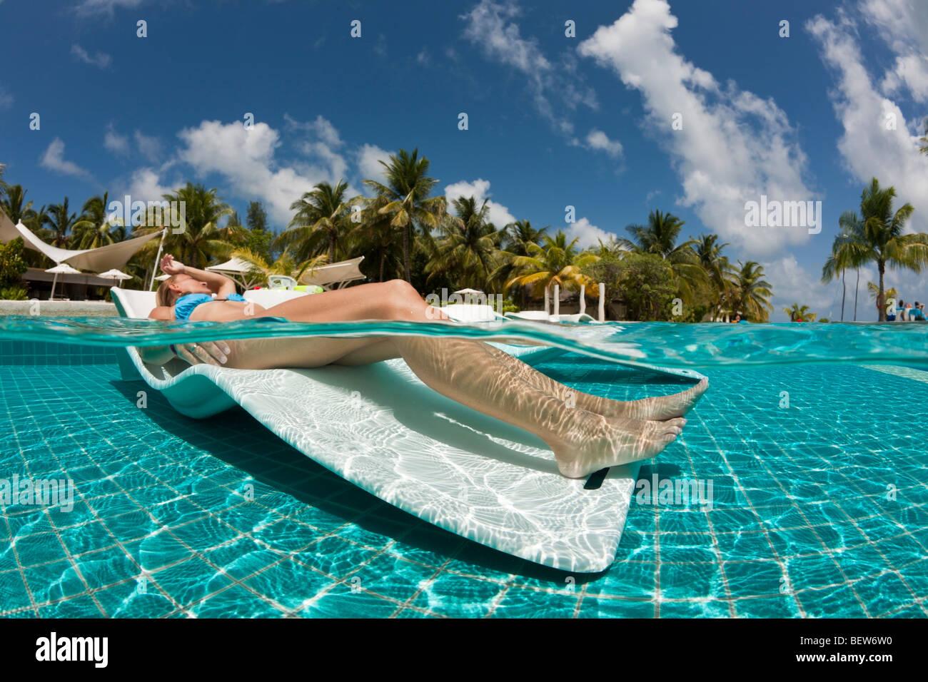 Sunbathing on Maldives, South Male Atoll, Maldives Stock Photo